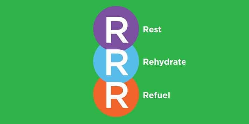rest, rehydrate, refuel