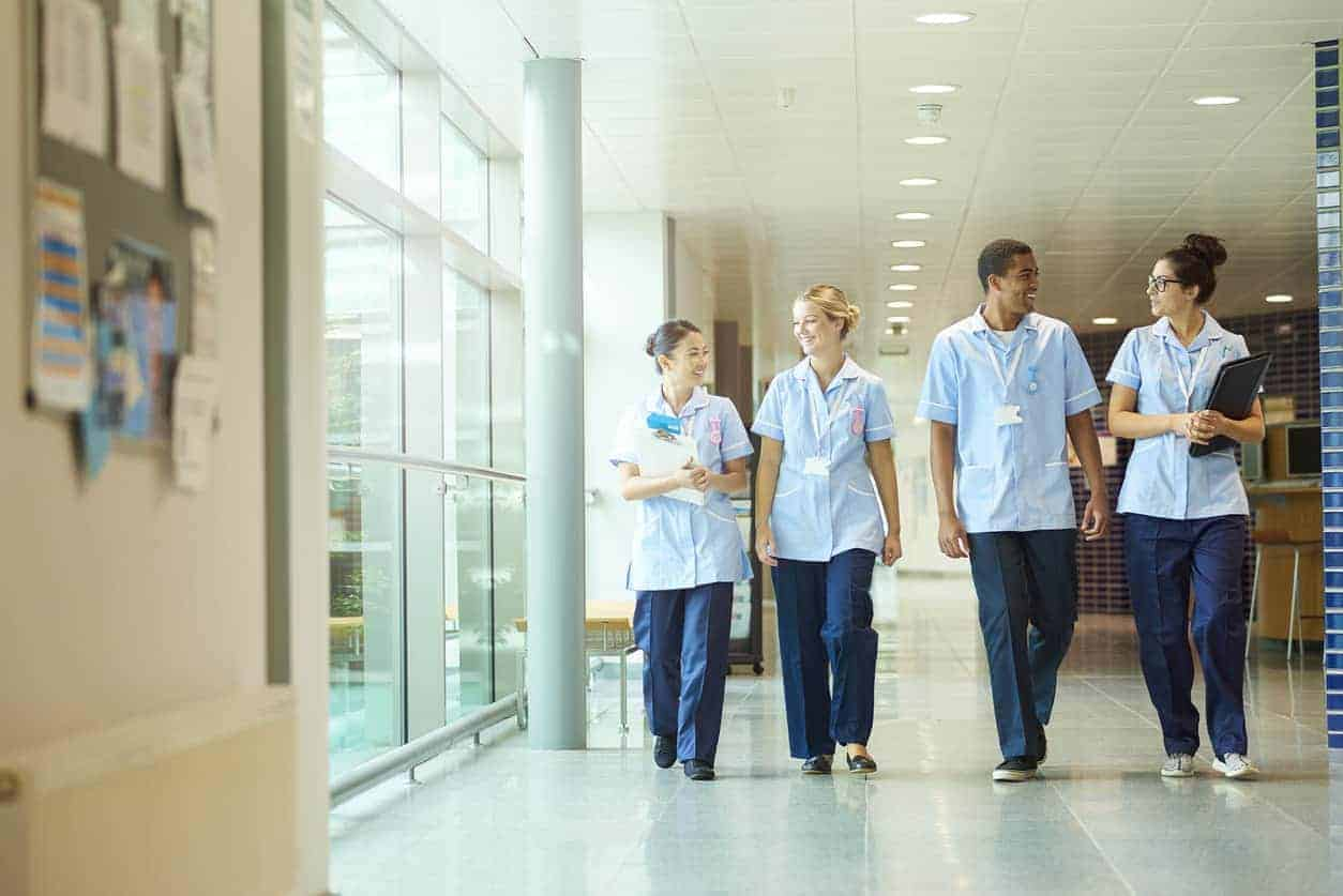 student nurses walking