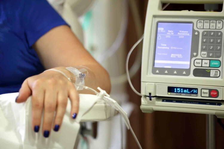 Patient recieving IV infusion