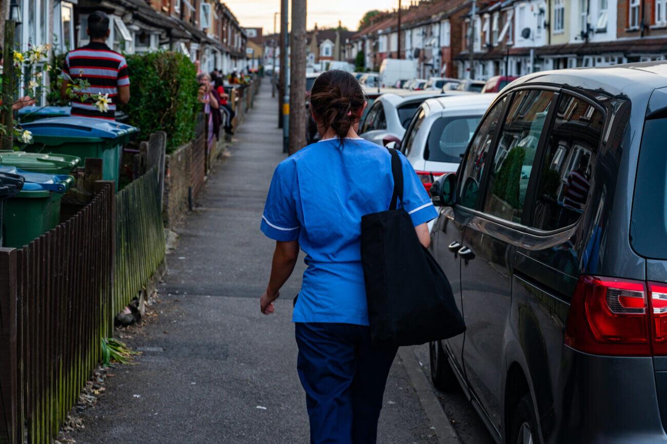 Nurse walking in street